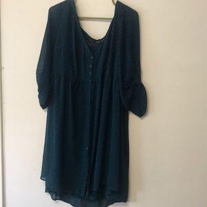 Dark blue/green (teal?) 3/4 sleeve button up dress
